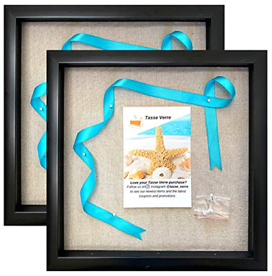 "12x12"" Display Shadow Box Frame 2-pack with Linen Background and 16 Stick Pins -"