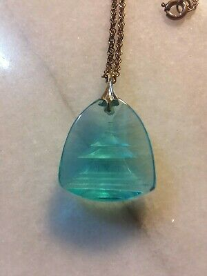 Vintage Chinese Pagoda Blue Glass Reverse Etched Sterling Silver  Necklace.