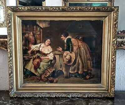 Antique Late 18th C. Oil Painting Woman & Man Flirting Interior Scene Signed Art