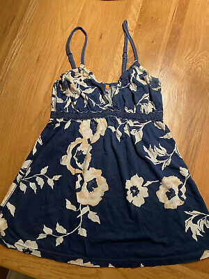 SoulCal Ladies Navy Floral Strappy Cami Vest Top UK Size 8
