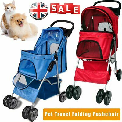Dogs Puppy Cat Pet Travel Stroller Pushchair Foldable Pram Buggy Jogger Wheels