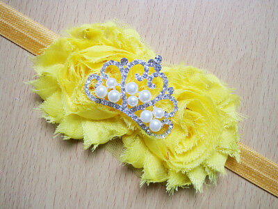 Yellow Princess Crown elasticated headband for toddler. New.