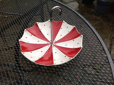 Vintage Midwinter Pottery Mid Century Modern Red Domino Cake Stand