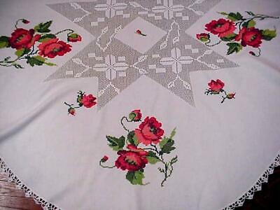 Vintage Embroidered RED POPPY Round FLORAL Tablecloth LACE Inserts & Trim PRETTY