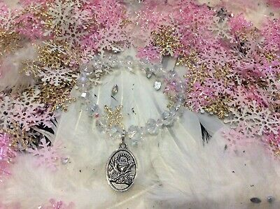 Code 665 First Holy Communion Clear AB Crystal Infused Bracelet Catholic Religon