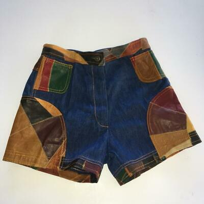 Rosemary Vintage 70's Denim Jean & 100% Genuine Leather Patchwork Shorts  13/14