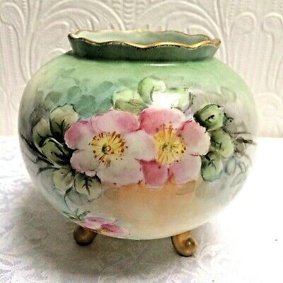 Beautiful 1890's Antique Hand Painted Wild Roses Footed Bavarian Rose Bowl