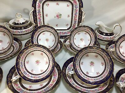 25 Pcs c1920's Cauldon, Cobalt COFFEE SET wPink & Purple MORNING GLORY #N2160