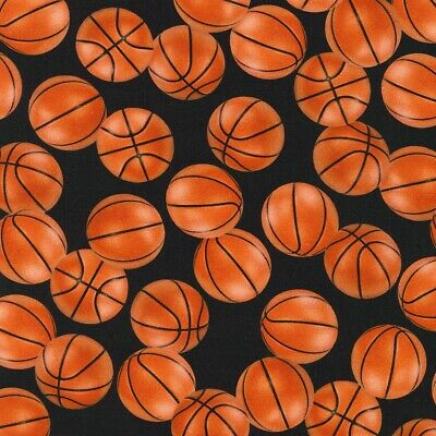 gm-c5814-black Cotton Basketballs Hoops Allover on Black Cotton Fabric Print by The Yard
