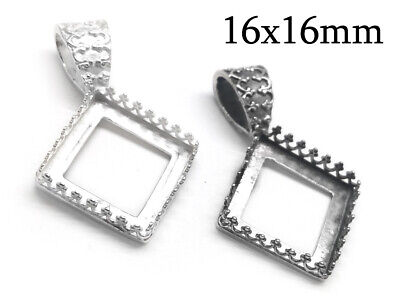 1pc Sterling Silver 925 Crown Square Bezel Setting 16x16mm - Jewelry base JBB