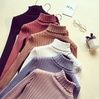Women Winter Warm Turtleneck Knitted Sweater Long Sleeve Pullover Tops Blouse