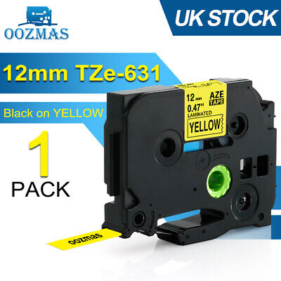 Compatible Brother P-Touch TZ631 TZe-631 Black on Yellow Label Tape Printer 12mm