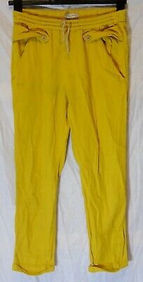 Girls Zara Mustard Yellow Turn Ups Slouch Summer Casual Trousers Age 13-14 Years
