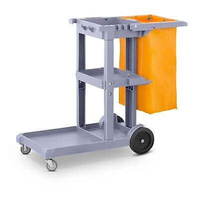 Commercial Cleaning Trolley With Laundry Rubbish Bag 3 Shelves Janitor Cart Blue
