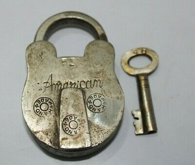 Old or Antique Brass padlock & key unique shape American lock