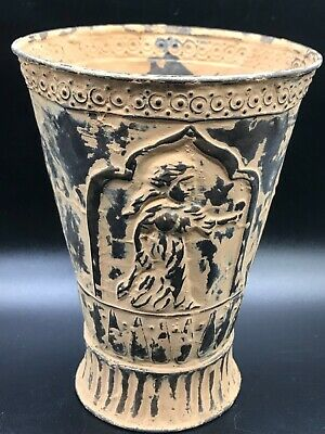 Unique ancient Roman copper with 3 Faces cup with wonderful storyline