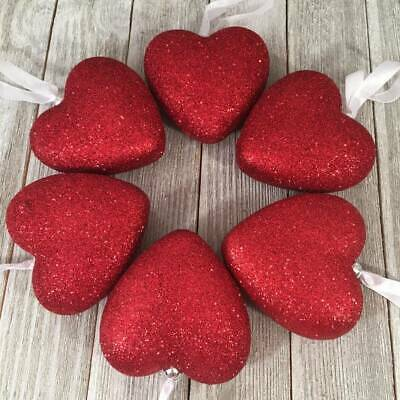 """Set 6 Hangiing Valentines Day Large 3"""" Red Glitter Heart Ornaments Tree Decor"""