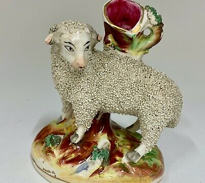 Victorian Staffordshire Pottery Sheep Figurine circa 1830
