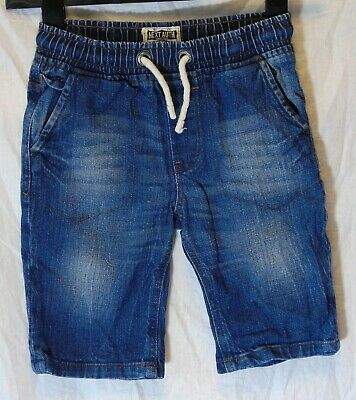 Boys Next Blue Whiskered Denim Drawstring Waist Long Board Shorts Age 8 Years