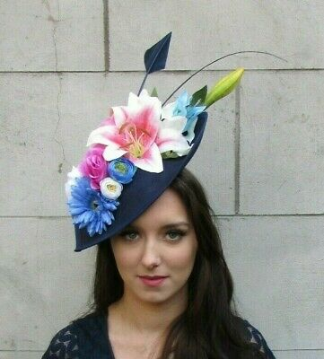 Navy Blue Pink White Cream Floral Large Teardrop Flower Hat Fascinator Hair 9014