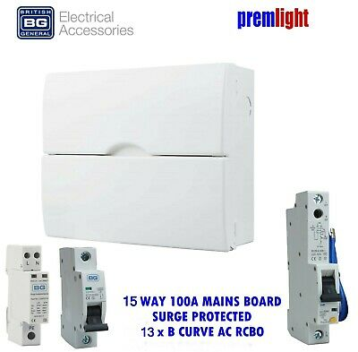 BG 18th EDITION 100A 15 WAY SURGE PROTECTED CONSUMER UNIT 13 x B CURVE RCBOs
