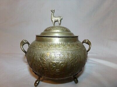 Antique Middle Eastern Islamic Persian Style Footed Lama Sugar Bowl