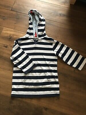 JOHN LEWIS Cotton Towelling Beach Cover Up, Blue & White Striped, VGC. Age 6