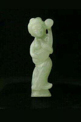 "Old Chinese Natural Handcarved Celadon Green Jade Guanyin Buddha Statue. 3""."