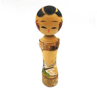 Wooden kokeshi japanese doll art sculpture Carving Statue antique vintage j003