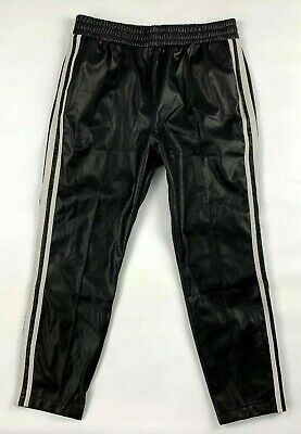 BB Dakota Womens Pants L Black Faux Leather Striped Pull-On Elastic Waist