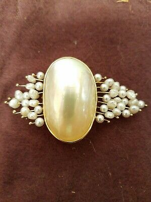 14k Gold And Seed Pearl Custom Made Pin