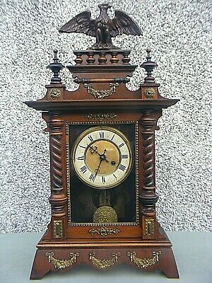 Antique Wooden Mantle Clock Eagle