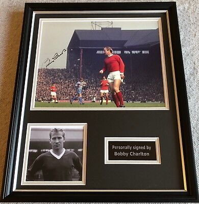 BOBBY CHARLTON Hand Signed Manchester United Autograph Photo Display