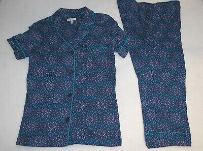 Womens Pajama Set NAVY BLUE w/ TEAL MAGENTA FLOWERS Button Up Top & Capris S 4-6