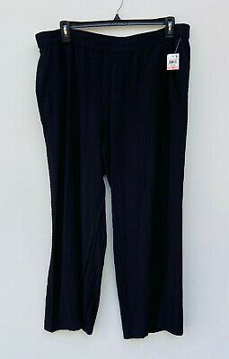 NEW JM Collection Women's Plus Wide Leg Elastic Waist Pants Black Size 2X