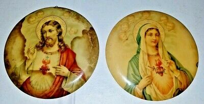 Sacred Heart Jesus Immaculate Heart of Mary Vintage Wall Medallion Plaques Tin