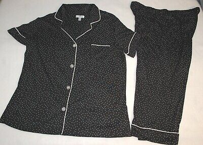 Womens Pajama Set BLACK w/ GRAY POLKA DOTS Button Up S/S Top POCKET Capris S 4-6