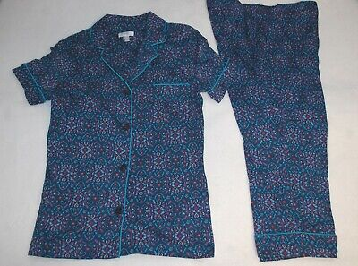 Womens Pajama Set NAVY BLUE, TEAL MAGENTA FLOWERS Button Up Top & Capris L 12-14