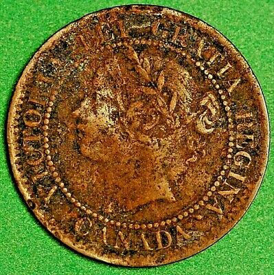 Canada Victoria One Cent 1859 double punched type 1