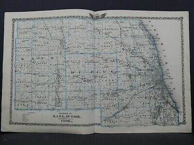 Map of Kane, DuPage and nearly all of Cook Counties, Double Page, 1870 L26 #62