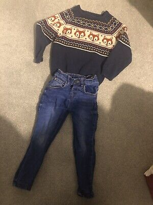 Boys Age 3-4 Skinny Jeans And Fox Jumper Bundle