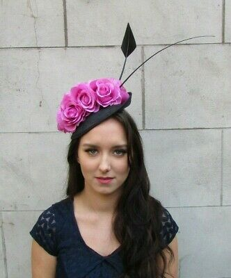 Black Hot Pink Flower Feather Disc Saucer Hat Fascinator Races Sinamay Hair 9024