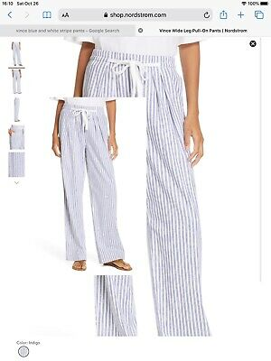 Vince wide leg pull on pants blue and white stripes size small