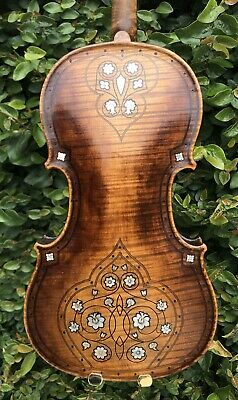 Unique Ornate Antique Violin Inlaid with Mother of Pearl - Highly Flamed Back