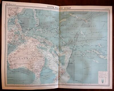 South Pacific Oceania Australia New Zealand Solomons c. 1920 large detailed map