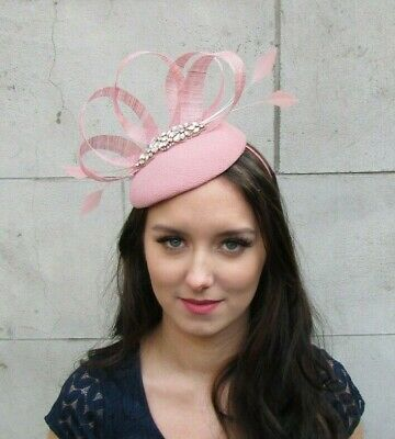 Dusky Pink Rose Gold Feather Pillbox Hat Fascinator Races Formal Blush Hair 9029