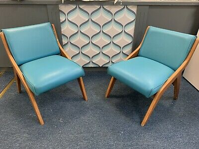 Retro Pair Of Neil Morris Glasgow 1950s Mid Century Chairs In Turquoise/Blue