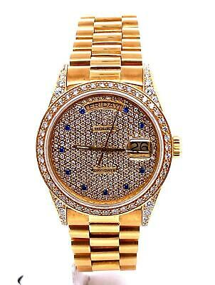 Rolex President Day-Date 36mm Ref. 18038 18k Yellow Gold Custom 4.5 CT Diamonds