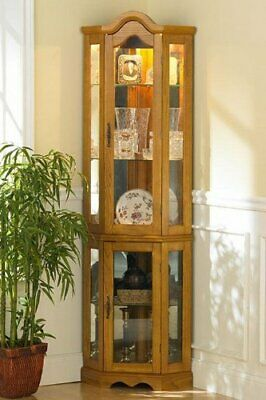 Home Decorators Collection Vitric Lighted Curio, Golden Oak Finish