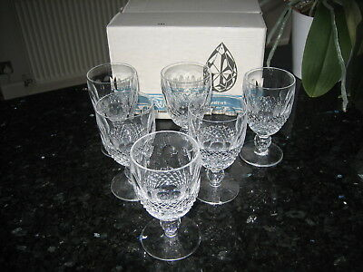 """Waterford Crystal Colleen Claret Wine Glasses 4 3/4"""" Signed x 6 Boxed Ex.Con"""